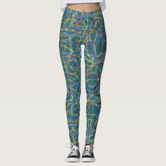 Green scribbled lines pattern leggings