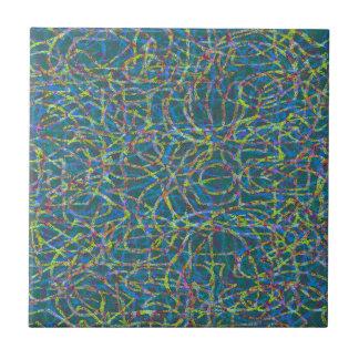 Green scribbled lines pattern tile