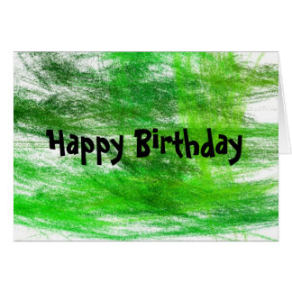 Green Scribbles Happy Birthday Card
