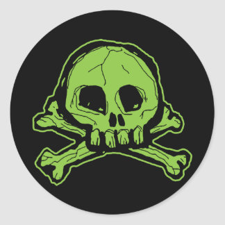 Green Scribbly Skull Classic Round Sticker