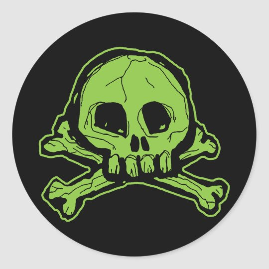 Green Scribbly Skull Classic Round Sticker