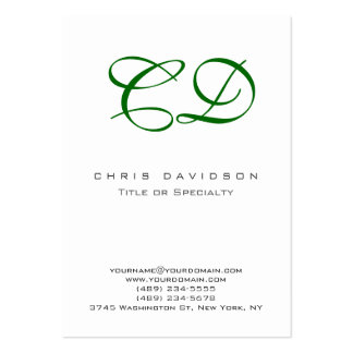 Green Script White Contemporary Business Card
