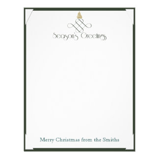 Green Scroll with Small Gold Christmas Tree Customized Letterhead
