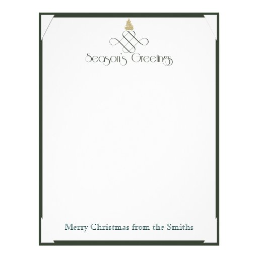 Green Scroll with Small Gold Christmas Tree Letterhead Design