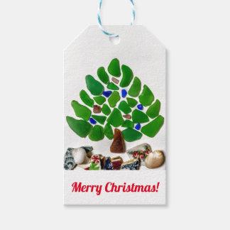 Green Sea Glass Christmas Tree Gift Tags