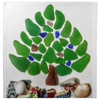 Green Sea Glass Christmas Tree Napkin