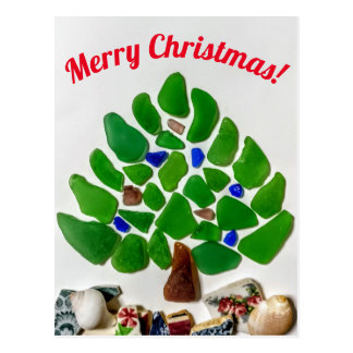 Green Sea Glass Christmas Tree Postcard