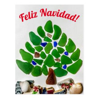 Green Sea Glass Feliz Navidad Tree Postcard