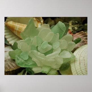 Green Sea Glass Flower Poster