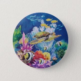 Green sea turtle 2 inch round button
