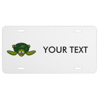 Green Sea Turtle Cartoon License Plate