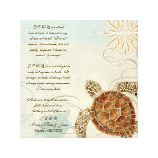 Green Sea Turtle Coastal Beach - 1 Corinthians 13 Stretched Canvas Print