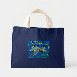 Green Sea Turtle, deep in the deep blue sea. Mini Tote Bag