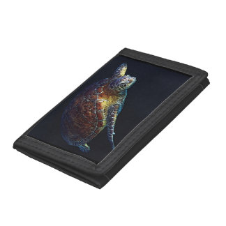 Green Sea Turtle on the Great Barrier Reef Tri-fold Wallets