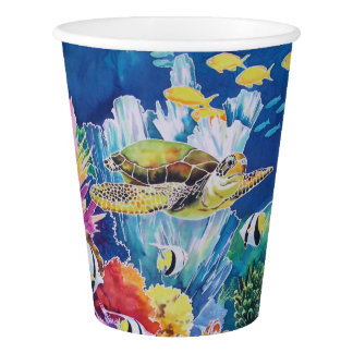 Green Sea Turtle Paper Cup Tropical Ocean Fish 9oz