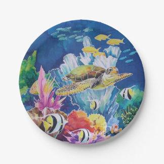 Green Sea Turtle Paper Plate Tropical Ocean Fish