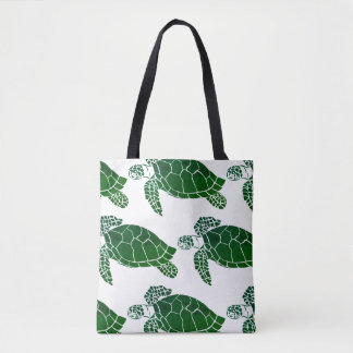 Green Sea Turtle Pattern Tote Bag