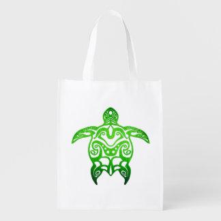 Green Sea Turtle Tribal Reusable Grocery Bag