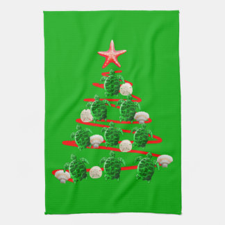 Green Sea Turtles Christmas Tree Kitchen Towel