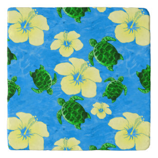 Green Sea Turtles Hawaiian Floral Design Trivet