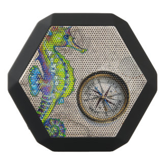Green Seahorse Compass Black Bluetooth Speaker