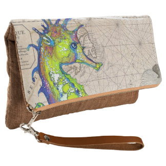 Green Seahorse Compass Clutch