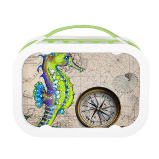 Green Seahorse Compass Lunch Box