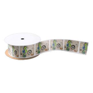 Green Seahorse Compass Satin Ribbon