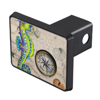 Green Seahorse Compass Trailer Hitch Cover