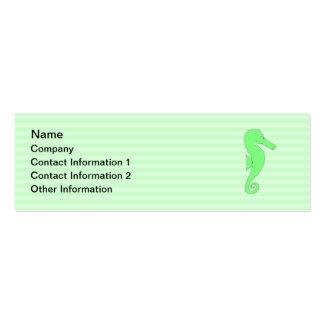 Green Seahorse on Light Green Stripes. Mini Business Card