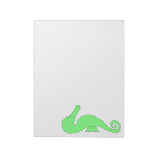 Green Seahorse on White Notepads