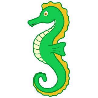 Green Seahorse Photo Sculpture Button