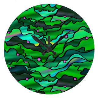 Green Seascape Abstract Wallclock