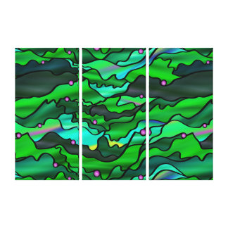 Green Seascape Organic Stained Glass Abstract Canvas Print