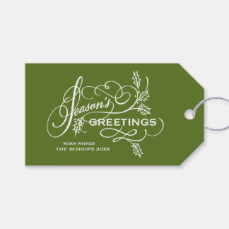 Green Season's Greetings Elegant Flourish Holiday Gift Tags