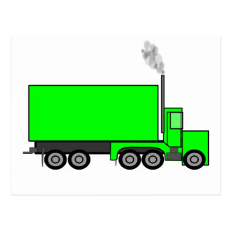 Green Semi-Trailer Truck Postcard