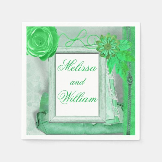 Green Shabby Chic Style Disposable Napkin