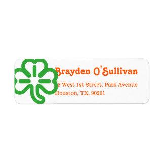 Green Shamrock Clover Irish Colors St Patricks Day Return Address Label