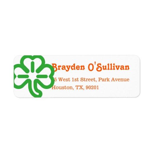 Green Shamrock Clover Irish Colours St Patricks Return Address Label