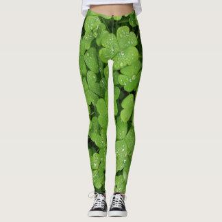 Green shamrock clover leggings for St.Patricks day