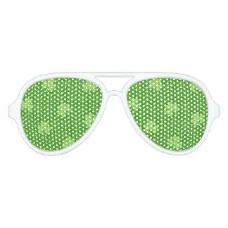 Green Shamrock Clover Pattern Saint Patricks Day Aviator Sunglasses