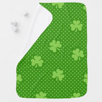 Green Shamrock Clover Pattern Saint Patricks Day Baby Blanket