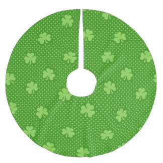 Green Shamrock Clover Pattern Saint Patricks Day Brushed Polyester Tree Skirt