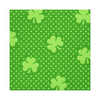 Green Shamrock Clover Pattern Saint Patricks Day Canvas Print