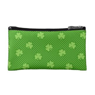 Green Shamrock Clover Pattern Saint Patricks Day Cosmetic Bag
