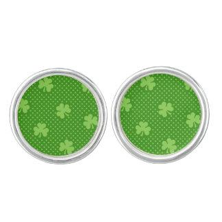 Green Shamrock Clover Pattern Saint Patricks Day Cufflinks