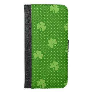 Green Shamrock Clover Pattern Saint Patricks Day iPhone 6/6s Plus Wallet Case