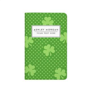 Green Shamrock Clover Pattern Saint Patricks Day Journal