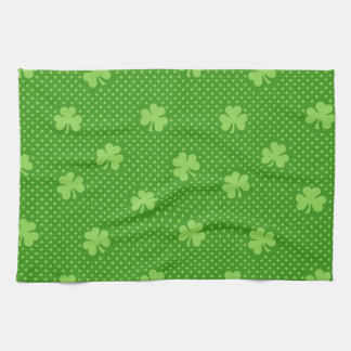 Green Shamrock Clover Pattern Saint Patricks Day Kitchen Towel