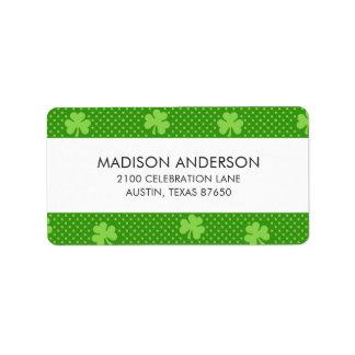 Green Shamrock Clover Pattern Saint Patricks Day Label
